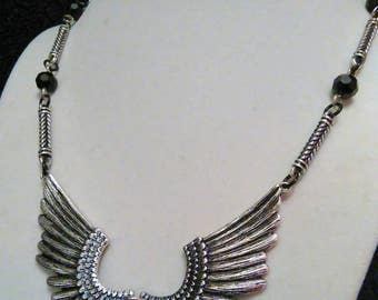 Angel wing necklace, dark angel, gothic jewelry, goth angel necklace, angel wing jewelry, black crystal goth, wing necklace, fallen angel