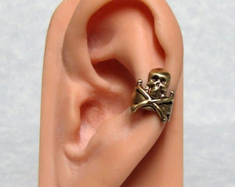 Pirate Nautical Ear Cuff ' sword and skull and cross bone '