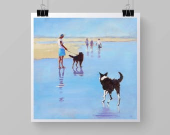 Border Collie Print with Labradoodle.  Exercising Dogs on the Beach. Seaside Art . Norfolk Coast.