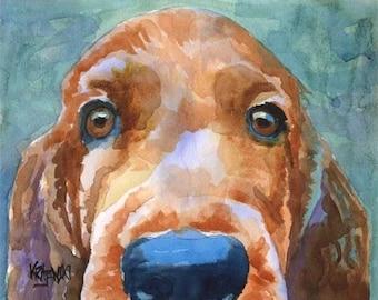 Irish Setter Dog Art Print of Original Watercolor Painting 11x14