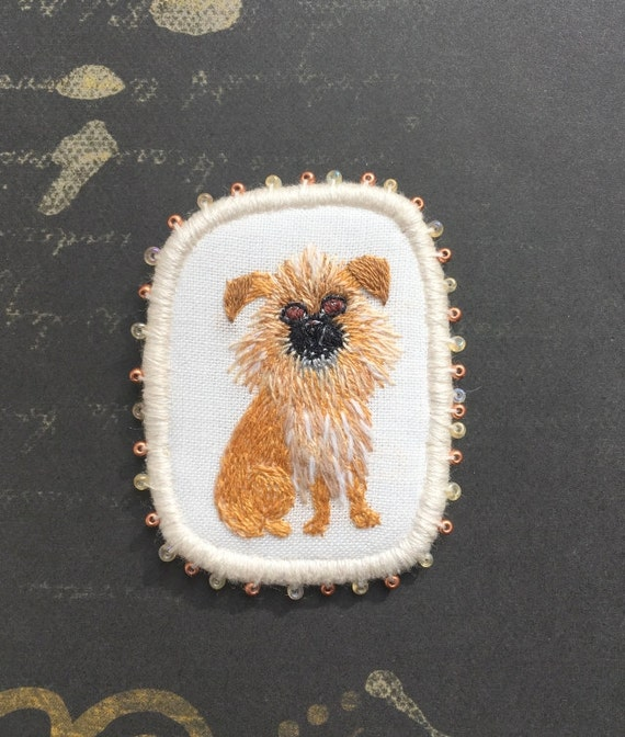 Textile Pet Portrait Brooch - Fluffy Chihuahua dog -  Funny Dogs - collection, hand embroidered textile dog jewelry. Monkey Terrier brooch.