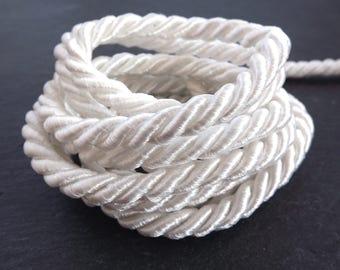 Creamy White 7mm Twisted Rayon Satin Rope Silk Braid Cord - 3 Ply Twist - 1 meters - 1.09 Yards