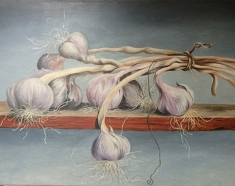 "Still life, ""Garlic"", oil painting, painting, french oil painting"