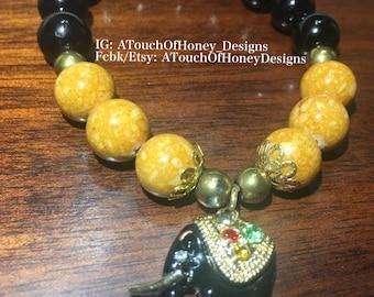 Jade Stone Bracelet with Elephant Charm