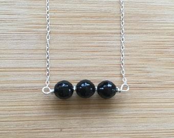 Ink Black Jet Choker, Sterling Silver Choker, Jet Necklace, Minimalist Jewelry, Layering Necklace, Black Gemstone Necklace, Jet Jewelry