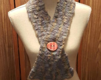Hand-knit Felted Neck Warmer with Porcelain Button