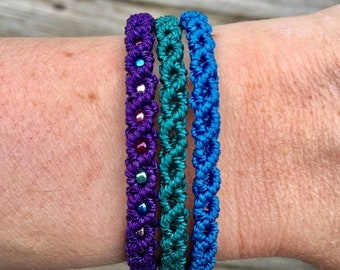 SALE Micro-Macrame Adjustable Bracelet Stack - Purple/Blue-Green/Blue