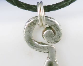 Inward Question Mark Fine Silver Pendant - Handmade Fine Silver Question Mark Pendant Gift - Unique Fine Silver ? Mark Amulet Gift