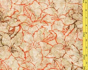Batik Fabric -  Bali Everglade Hibiscus - 07063-07- Tan Orange