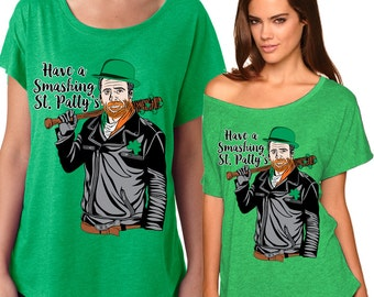 Have a Smashing St. Patty's - Ladies' Triblend Dolman Tee - Sizes XS-3XL in 10 colors