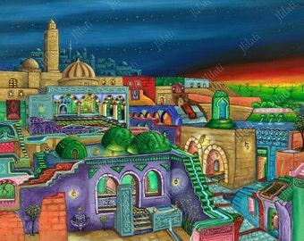 Print, poster, North American Islamic Art, Canadian Artwork, realism, Muslim Architecture, oil, Heaven, paradise earth, cityscape modern