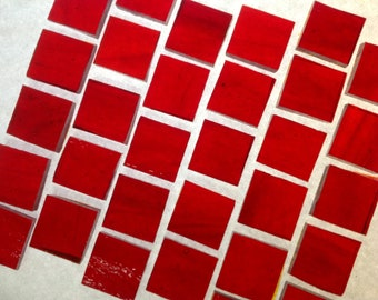 """100 1/4"""" STRAWBERRY CHERRY Tiny Tiles Transparent Stained Glass Mosaic Supply T6"""