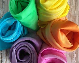 "Play Silks, Waldorf inspired play silks, 21"" square, pastel set of 6"