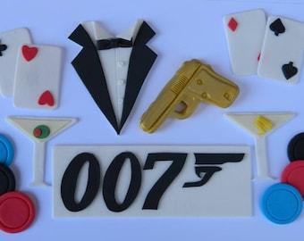 19 piece edible JAMES BOND cake topper decoration kit golden gun martini tuxedo 007 logo wedding party wedding birthday engagement spy deco