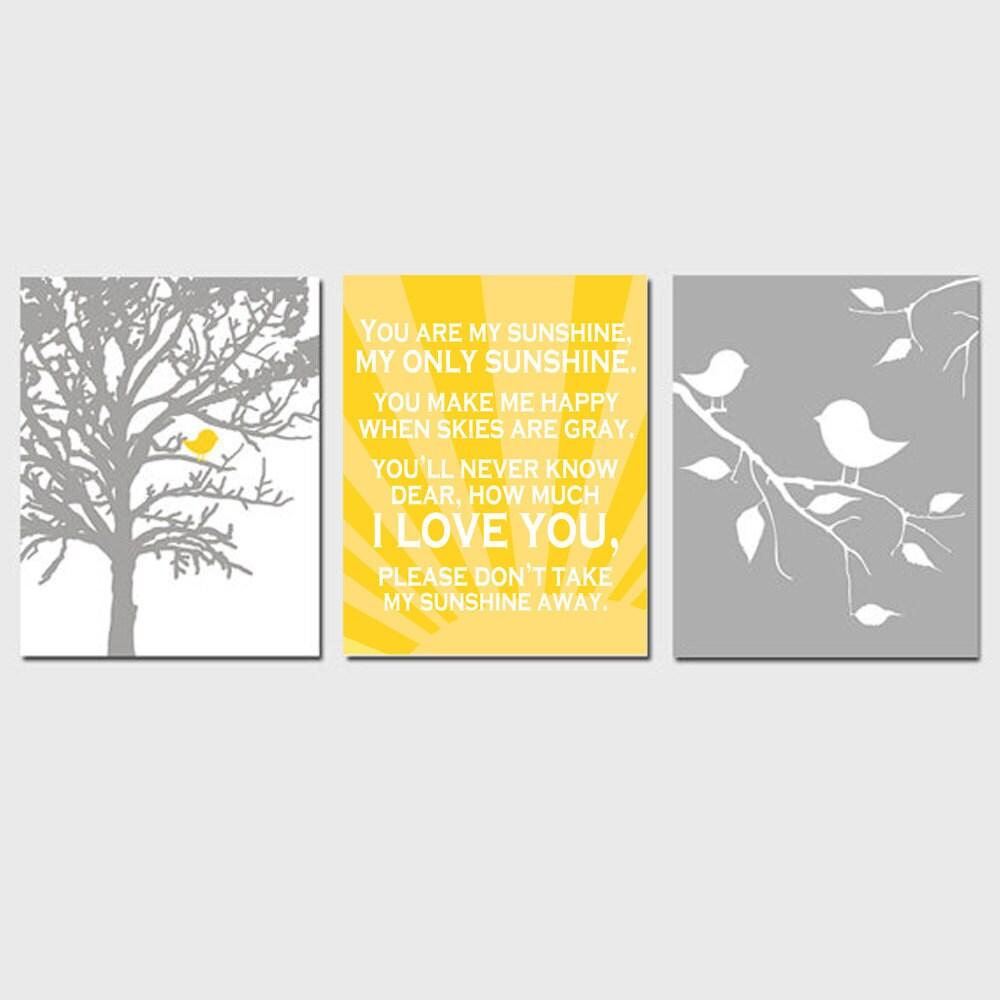 Baby Bird Sunshine Trio Set of Three 11x14 Nursery Prints