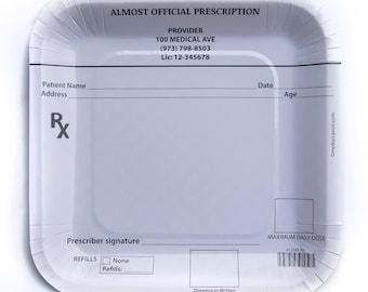 Prescription pad party plates for doctor party/ nurse party/ pharmacist party, dinner size