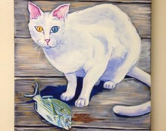 White Cat, (painting, fish, seashore, dock, bait, coastal, gulf coast, gulf mexico, fishing, seafood, prey, predator)
