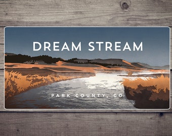 Dream Stream River Decal Sticker - high quality, weatherproof, Colorado river illustration
