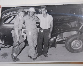 50's Photo Hot Rod Drag Racing Rockabilly Original 5x7 Photo Denim Work Clothes Cool Cats
