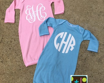 Personalized Monogram Baby Infant Gown