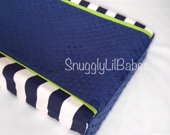 Navy stripe, lime changing pad cover and navy minky dot