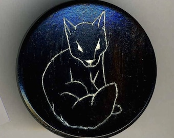 Button, Wood with Etched Fox Large