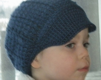 Crocheted Baby Newsboy Cap (Hat) Lapis Infant & Toddler Sizes
