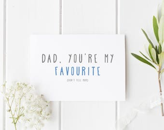 Father's Day Card, Dad You're My Favourite, Number 1 Dad, Card For Dad, Handmade Fathers Day Card For Dad