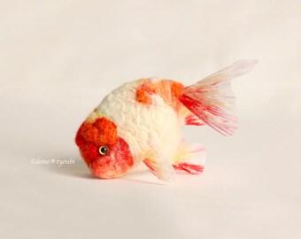 """Needle felted goldfish""""Cherry Ranchu"""""""