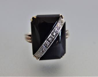 Vintage Black Onyx Diamond Ring | 1950's Deco Style Ring | Onyx Diamond Ring | Size 6.5 Ring | 10K Gold Onyx Diamond Ring | Jewelry Gift