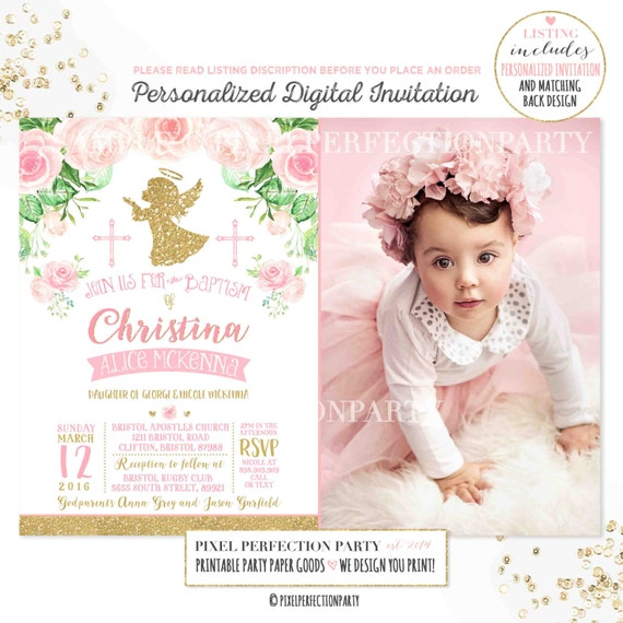 Girl baptism invitation angel baptism invitation pink gold stopboris Image collections