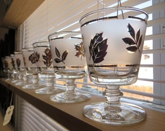 Libbey Cocktail Glasses - 1950s Gold Leaves, Frosted, Manhattan, Whiskey Sour