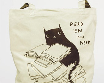 Cat Tote Bag Cat Bag Cat Tote Library Tote Bag Book Tote Bag Book Bag, black cat tote, bookworm for her, bookworm tote bag, bookworm bag