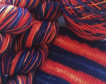 Hand dyed self striping sock yarn - Bonfire Night