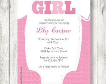 It's A Girl Onesie Baby Shower Invitation, Printable, Digital File