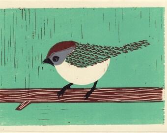 BUSHTIT - Original Illustration Linocut Block Art Print, Blue, Green, Brown, 5 x 7, Handmade, Wall Decor