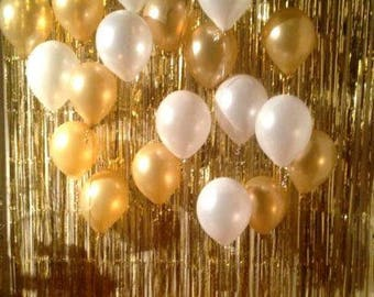 3ft x 8ft Metallic GOLD or SILVER Foil Fringe Door Curtain Backdrop - Photo Booth Prop Wedding Party Grad New Years Supplies Celebration