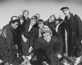 80s Bones Brigade Team Portrait Photo at Del Mar Skate Ranch 18x24 B&W Skateboarding Photograph  1980s