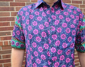 Men's Handmade Sari Silk Short Sleeve Button Down Dress Shirt - Pink Floral on Navy - Large or XL - Enzo I926