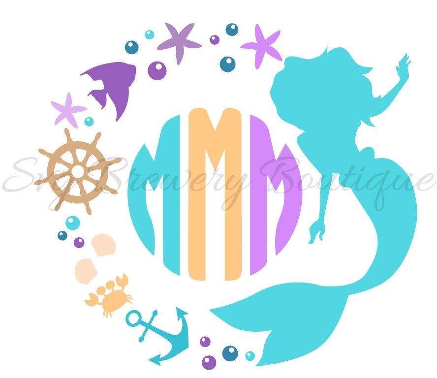 Mermaid Monogram Frame Svg Layered Png Dxf Format