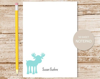 personalized moose notepad . moose note pad . custom stationery . personalized stationary . woodland moose silhouette . animal notepad