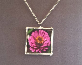 """Pink Zinnia Flower Necklace, 1.5"""" Pendant Necklace; Simple Elegance; Gift Wrapping Available"""