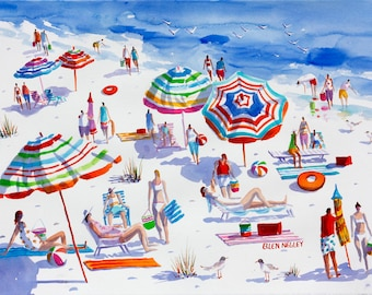 Beach Painting, Beach Decor, Beach Watercolor Print, Florida Art, Umbrella Art, Negley, Tropical Painting, Beach Print, 11 x 14, 16 x 20