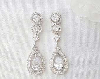 Crystal Bridal Earrings, Long Wedding Earrings, Bridal Jewelry, Cubic Zirconia, Drop Earrings, Crystal Wedding Jewelry for Bride, Sarah