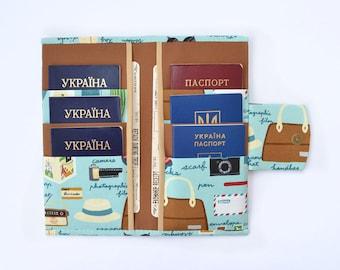 Wedding travel gift Passport wallet Passport holder women Passport case Passport cover holds 6 passports Family travel wallet Gift for women