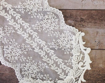 Free shipping-Wedding Tablecloth Table Topper Table Doily Runner,Embroidery&Lace 17x120cm