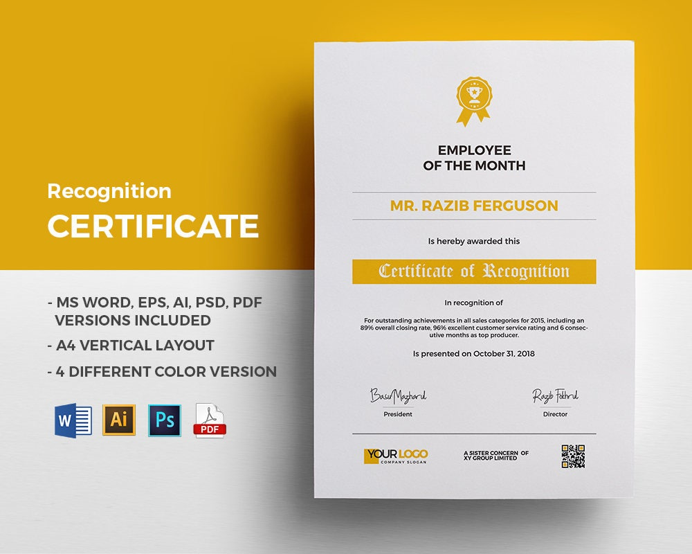 Recognition Certificate template stationary design in MS Word