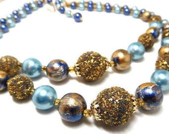"""Blue and Gold Bead Necklace Vintage 60s double strand gold glitter Fantastic Style 16"""""""