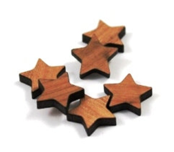 Laser Cut Supplies-8 Pieces.Star Charms - Laser Cut Wood Star -Earring Supplies-  Little Laser Lab Sustainable Wood Products