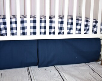 Adjustable Navy Blue Box Pleat Crib Skirt for Nursery Baby Bedding - 16'' Drop